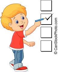 garçon, dessin animé, liste contrôle