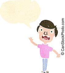 garçon, dessin animé, parole, retro, bulle
