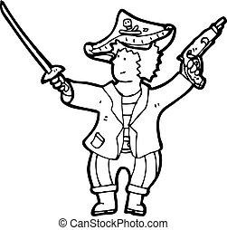 garçon, dessin animé, pirate