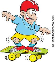 garçon, dessin animé, skateboarding