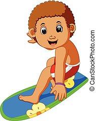 garçon, dessin animé, surfeur