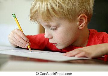 garçon, dessin, jeune, crayon