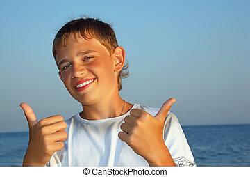 ??, garçon, deux, contre, adolescent, mer, mains, sourire, geste, spectacles