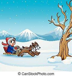 garçon, deux, sleigh chien, équitation, tiré, heureux