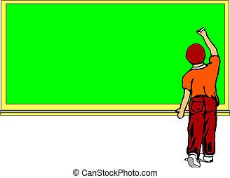 garçon, devant, école, planche