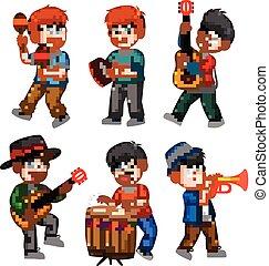 garçon, différent, collection, jeu musical instrument