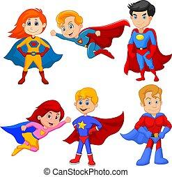 garçon, différent, ensemble, superhero, pose, girl