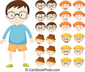 garçon, différent, expressions, facial