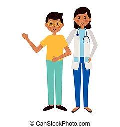garçon, docteur femme