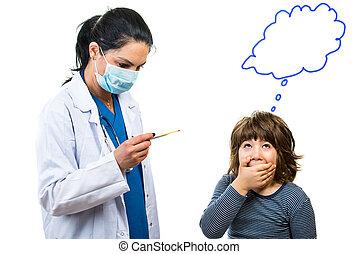 garçon, docteur, stupéfié, température, vérification, sien