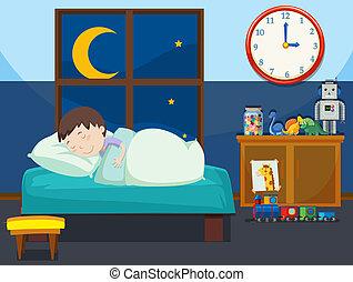 garçon, dormir, chambre à coucher