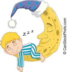 garçon, dormir, dessin animé, lune