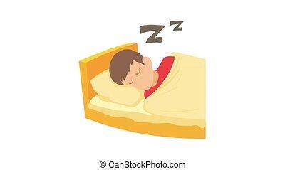 garçon, dormir, icône, animation