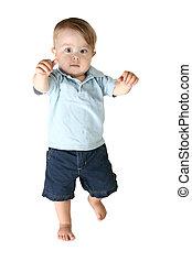 garçon, enfantqui commence à marcher, adorable