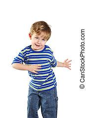 garçon, enfantqui commence à marcher, danse
