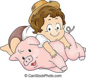 garçon, enfantqui commence à marcher, gosse, cochon