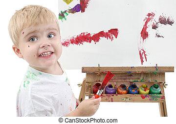garçon, enfantqui commence à marcher, peinture