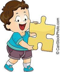 garçon, enfantqui commence à marcher, puzzle, illustration, morceau, gosse