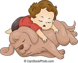 garçon, enfantqui commence à marcher, sommeil, chien, illustration