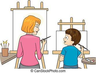 garçon, enseigner, peinture, maman, gosse