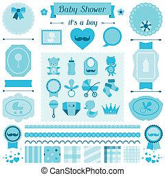 garçon, ensemble, douche, éléments, bébé, design.