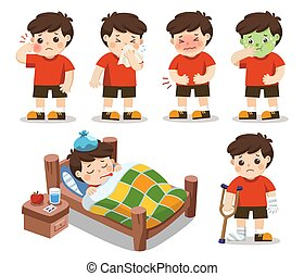 garçon, ensemble, estomac, obtenir, temperature., illustration, sick., élevé, vecteur, douleur, a, toothache., il