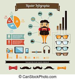 garçon, ensemble, geek, éléments, hipster, infographics