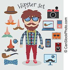 garçon, ensemble, hipster