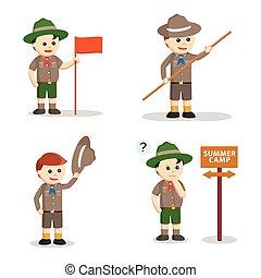 garçon, ensemble, scout, conception, illustration