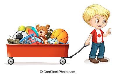 garçon, entiers, traction, charrette, jouets