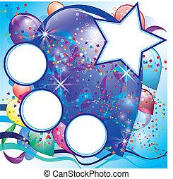 garçon, espace, fête, blanc, ballons, carte