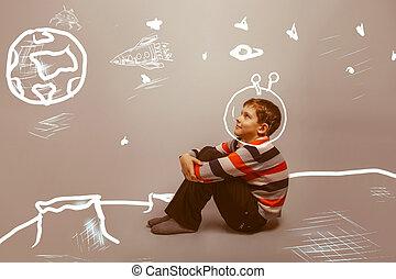 garçon, espace, séance, lune, planète, astronaute, adolescent, la terre