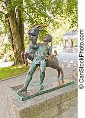 garçon, et, chèvre, sculpture, (1925)., stavanger, norvège