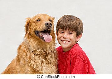 garçon, et, chien