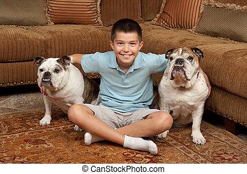 garçon, et, chiens