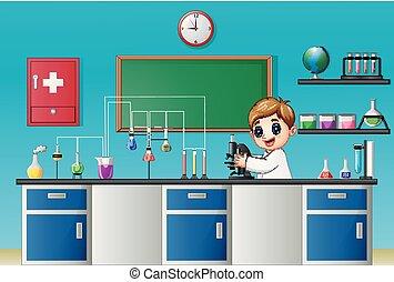 garçon, expérimenter, laboratoire, chimique, microscope, dessin animé
