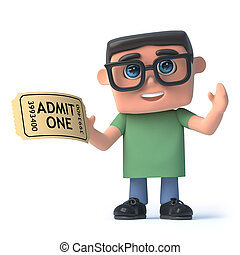 garçon, exposition, lunettes, billet, a, 3d