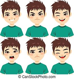 garçon, expressions, adolescent, figure