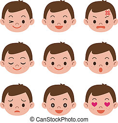 garçon, expressions, facial