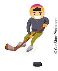 garçon, extérieur, caucasien, hockey, jouer, rink.