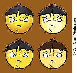garçon, fâché, smiley, chinois, emoji