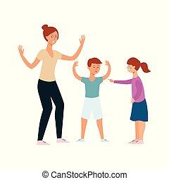garçon, famille, discuter, fâché, entre, frères soeurs, mère, frères soeurs, girl, crier, conflit