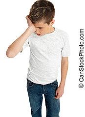 garçon, fatigué, accentué, désordre, enfant, ou