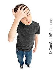 garçon, fatigué, inquiété soumis contrainte, frustré, ou
