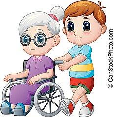 garçon, fauteuil roulant, dessin animé, grand-maman