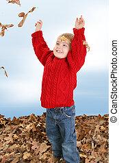 garçon, feuilles, enfant