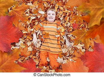 garçon, feuilles, haut, regarder, automne, automne, orange