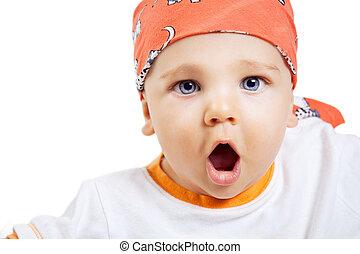 garçon, figure, bébé, surprise, expression, cri