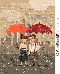 garçon fille, à, parapluie