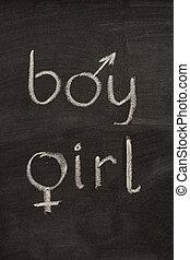 garçon fille, mots, à, symboles genre, sur, tableau noir